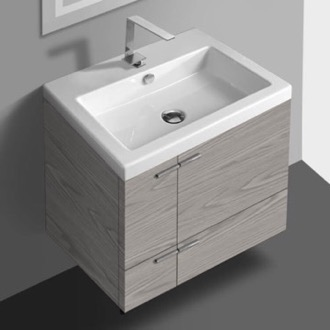 Bathroom Vanity 23 Inch Vanity Cabinet With Fitted Sink ACF ANS32-Grey Walnut