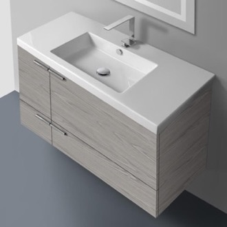 Bathroom Vanity 39 Inch Vanity Cabinet With Fitted Sink ACF ANS34-Grey Walnut
