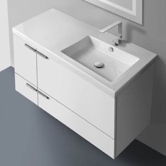 Bathroom Vanity 39 Inch Vanity Cabinet With Fitted Sink ACF ANS45-Glossy White