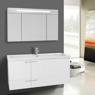 Bathroom Vanity 47 Inch Glossy White Bathroom Vanity with Fitted Ceramic Sink, Wall Mounted, Lighted Medicine Cabinet Included ACF ANS1359