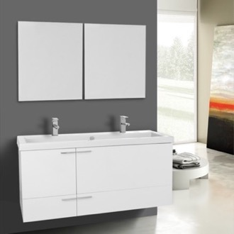 Bathroom Vanity 47 Inch Glossy White Bathroom Vanity Set, Double Sink, Mirrors Included ACF ANS1117