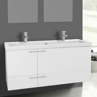 Bathroom Vanity 47 Inch Vanity Cabinet With Fitted Sink ACF ANS39-Glossy White