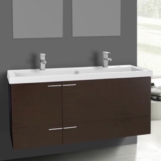 Bathroom Vanity 47 Inch Wenge Bathroom Vanity Set, Double Sink ACF ANS1105