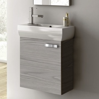 Bathroom Vanity 18 Inch Vanity Cabinet With Fitted Sink ACF C13-Grey Walnut