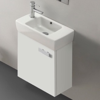 Bathroom Vanity 18 Inch Vanity Cabinet With Fitted Sink ACF C13-Glossy White