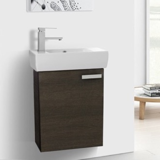 Bathroom Vanity 19 Inch E Saving Grey Oak With Ceramic Sink Wall