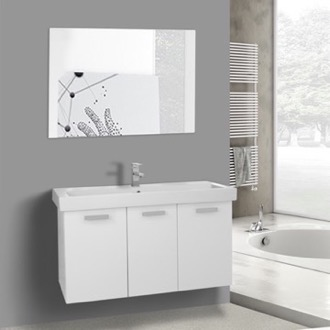 Bathroom Vanity 39 Inch Glossy White Wall Mount Bathroom Vanity with Fitted Ceramic Sink, Mirror Included ACF C625