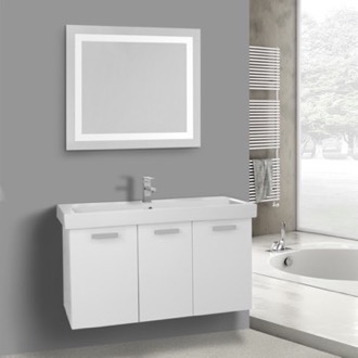 Bathroom Vanity 39 Inch Glossy White Wall Mount Bathroom Vanity with Fitted Ceramic Sink, Lighted Mirror Included ACF C627