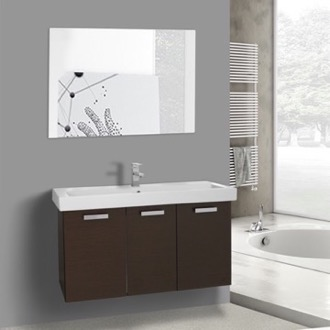 Bathroom Vanity 39 Inch Wenge Wall Mount Bathroom Vanity with Fitted Ceramic Sink, Mirror Included ACF C629