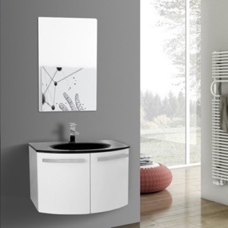 Bathroom Vanity 28 Inch Glossy White Bathroom Vanity with Black Glass Top, Mirror Included ACF CD41