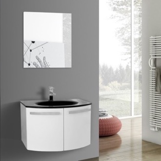 Bathroom Vanity 28 Inch Glossy White Bathroom Vanity with Black Glass Top, Mirror Included ACF CD42