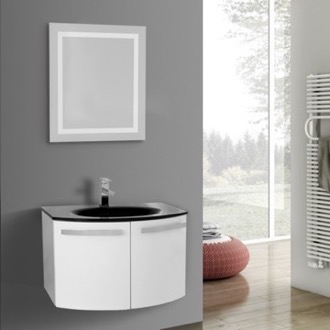Bathroom Vanity 28 Inch Glossy White Bathroom Vanity with Black Glass Top, Lighted Mirror Included ACF CD44