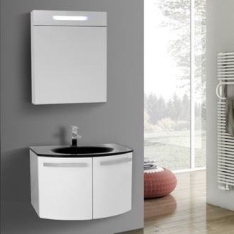 Bathroom Vanity 28 Inch Glossy White Bathroom Vanity with Black Glass Top, Lighted Medicine Cabinet Included ACF CD123