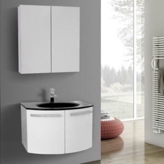 Bathroom Vanity 28 Inch Glossy White Bathroom Vanity with Black Glass Top, Medicine Cabinet Included ACF CD125