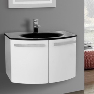 Bathroom Vanity 28 Inch Glossy White Bathroom Vanity with Black Glass Top ACF CD28