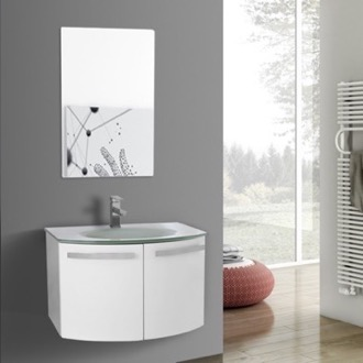 Bathroom Vanity 28 Inch Glossy White Bathroom Vanity with White Glass Top, Mirror Included ACF CD48
