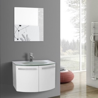 Bathroom Vanity 28 Inch Glossy White Bathroom Vanity with White Glass Top, Mirror Included ACF CD49