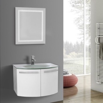 Bathroom Vanity 28 Inch Glossy White Bathroom Vanity with White Glass Top, Lighted Mirror Included ACF CD51