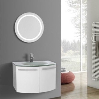 Bathroom Vanity 28 Inch Glossy White Bathroom Vanity with White Glass Top, Lighted Mirror Included ACF CD50