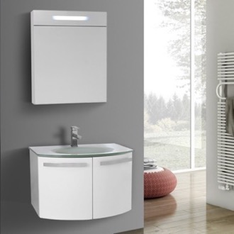 Bathroom Vanity 28 Inch Glossy White Bathroom Vanity with White Glass Top, Lighted Medicine Cabinet Included ACF CD132