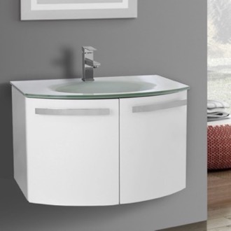 Bathroom Vanity 28 Inch Glossy White Bathroom Vanity with White Glass Top ACF CD27