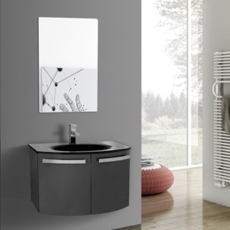 Bathroom Vanity 28 Inch Glossy Anthracite Bathroom Vanity with Black Glass Top, Mirror Included ACF CD55