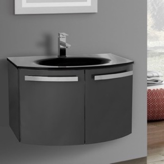 Bathroom Vanity 28 Inch Glossy Anthracite Bathroom Vanity with Black Glass Top ACF CD29