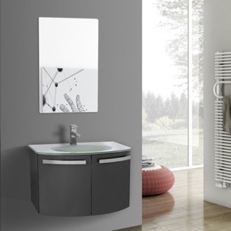 Bathroom Vanity 28 Inch Glossy Anthracite Bathroom Vanity with White Glass Top, Mirror Included ACF CD62