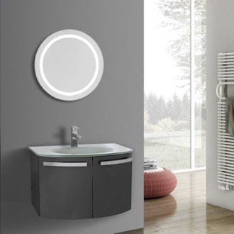 Bathroom Vanity 28 Inch Glossy Anthracite Bathroom Vanity with White Glass Top, Lighted Mirror Included ACF CD64