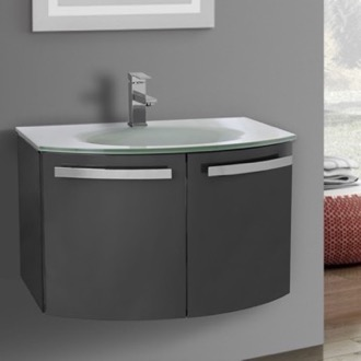 Bathroom Vanity 28 Inch Glossy Anthracite Bathroom Vanity with White Glass Top ACF CD30