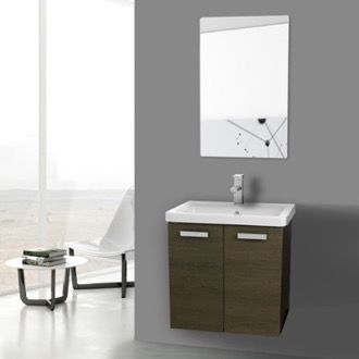 Bathroom Vanity 24 Inch Grey Oak Wall Mount Vanity with Fitted Ceramic Sink, Mirror Included ACF CP123