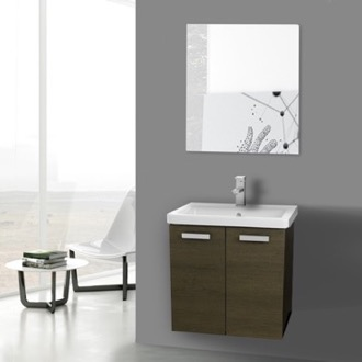 Bathroom Vanity 24 Inch Grey Oak Wall Mount Vanity with Fitted Ceramic Sink, Mirror Included ACF CP124
