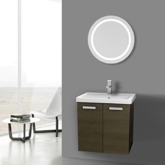Bathroom Vanity 24 Inch Grey Oak Wall Mount Vanity with Fitted Ceramic Sink, Lighted Mirror Included ACF CP125