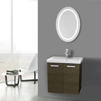 Bathroom Vanity 24 Inch Grey Oak Wall Mount Vanity with Fitted Ceramic Sink, Lighted Mirror Included ACF CP126