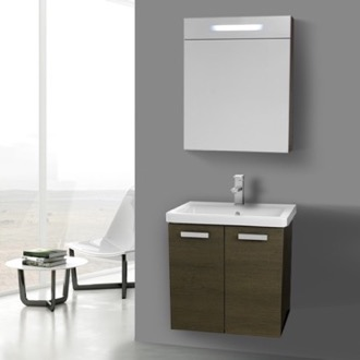 Bathroom Vanity 24 Inch Grey Oak Wall Mount Vanity with Fitted Ceramic Sink, Lighted Medicine Cabinet Included ACF CP288