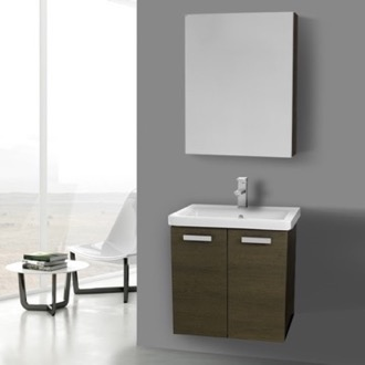 Bathroom Vanity 24 Inch Grey Oak Wall Mount Vanity with Fitted Ceramic Sink, Medicine Cabinet Included ACF CP289