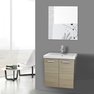 Bathroom Vanity 24 Inch Larch Canapa Wall Mount Vanity with Fitted Ceramic Sink, Mirror Included ACF CP140