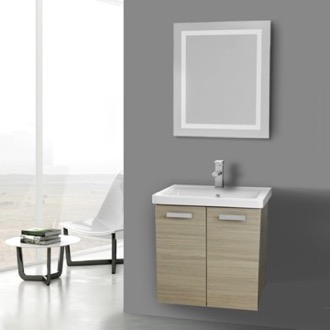 Bathroom Vanity 24 Inch Larch Canapa Wall Mount Vanity with Fitted Ceramic Sink, Lighted Mirror Included ACF CP143