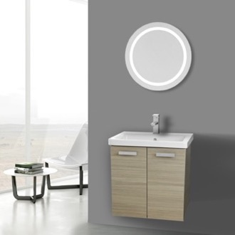 Bathroom Vanity 24 Inch Larch Canapa Wall Mount Vanity with Fitted Ceramic Sink, Lighted Mirror Included ACF CP141