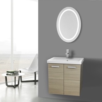 Bathroom Vanity 24 Inch Larch Canapa Wall Mount Vanity with Fitted Ceramic Sink, Lighted Mirror Included ACF CP142