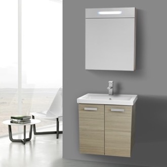Bathroom Vanity 24 Inch Larch Canapa Wall Mount Vanity with Fitted Ceramic Sink, Lighted Medicine Cabinet Included ACF CP300