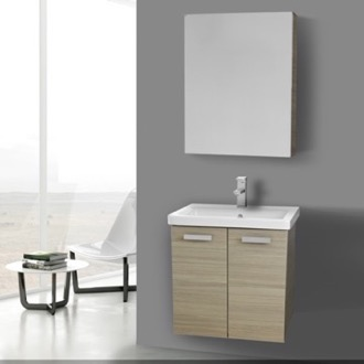 Bathroom Vanity 24 Inch Larch Canapa Wall Mount Vanity with Fitted Ceramic Sink, Medicine Cabinet Included ACF CP301