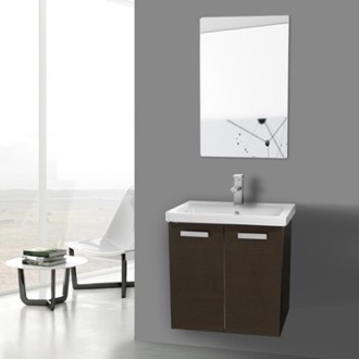 Bathroom Vanity 24 Inch Wenge Wall Mount Vanity with Fitted Ceramic Sink, Mirror Included ACF CP147