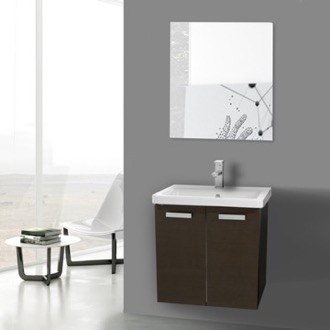 Bathroom Vanity 24 Inch Wenge Wall Mount Vanity with Fitted Ceramic Sink, Mirror Included ACF CP148