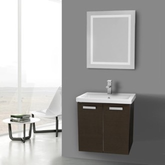Bathroom Vanity 24 Inch Wenge Wall Mount Vanity with Fitted Ceramic Sink, Lighted Mirror Included ACF CP151