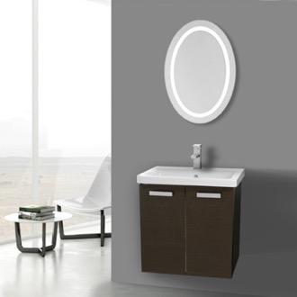 Bathroom Vanity 24 Inch Wenge Wall Mount Vanity with Fitted Ceramic Sink, Lighted Mirror Included ACF CP150
