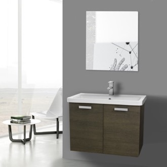 Bathroom Vanity 32 Inch Grey Oak Wall Mount Vanity with Fitted Ceramic Sink, Mirror Included ACF CP154