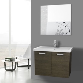 Bathroom Vanity 32 Inch Grey Oak Wall Mount Vanity with Fitted Ceramic Sink, Mirror Included ACF CP155