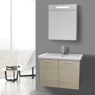 Bathroom Vanity 32 Inch Larch Canapa Wall Mount Vanity with Fitted Ceramic Sink, Lighted Medicine Cabinet Included ACF CP330