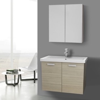 Bathroom Vanity 32 Inch Larch Canapa Wall Mount Vanity with Fitted Ceramic Sink, Medicine Cabinet Included ACF CP332